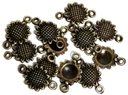 20pc Antique Brass Sunflower Connectors 14x8mm