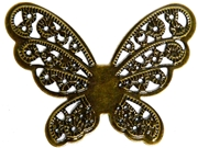 1pc Antique Brass Filigree Butterfly Pendant 43x43mm