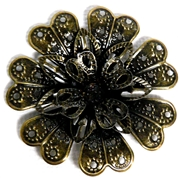 1pc Antique Brass Filigree 3d Flower 39mm