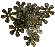 10pc Antique Brass Flat Flower 18mm