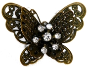 1pc Antique Brass Rhinestone 3d Butterfly Pendant 43x22mm