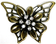 1pc Antique Brass Rhinestone 3d Butterfly Flower Pendant 43x35mm