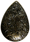 2pc Antique Brass Etched Flower Teardrop Charm/ Pendant 45x31mm