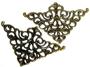 2pc Antique Brass Filigree Corners 50x32mm