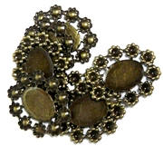 4pc Antique Brass Flower Edge Cabochon Settings 24x21mm