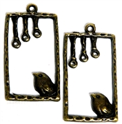 2pc Antique Brass Bird Rectangle Charm 35x19mm