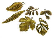 6pc antique brass large leaves charm set