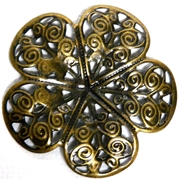 2pc Antique Brass Filigree Flower 36mm
