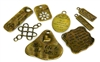 8pc antique brass words charm set