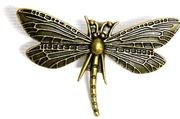 1pc Antique Brass Dragonfly Pendant 48x30mm