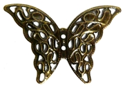 2pc Antique Brass Filigree Butterfly Charms 41x29mm
