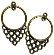 1pr Antique Brass Round Lace Drops 40x24mm