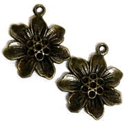 2pc Antique Brass Flat Flower Charm 25x22mm