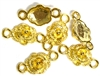 10pc Gold Plated Rose Connectors 20mm