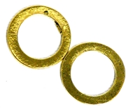 2pc Antique Gold Flat Circle Connectors 22mm