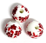 3pc Red Flowers Porcelain Rounds 12mm