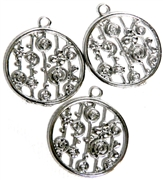 3pc Round Sea Rounds Antique Silver Charm 20mm