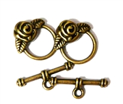 2pc Antique Brass Rose Toggle Clasp 16x18mm