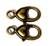 2pc Large Antique Brass Heart Smooth Lobster Clasps 28x14mm
