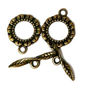 2pc Antique Brass Toggle Clasps Flower Twist 20mm