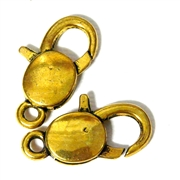 2pc Gold Plated Large Lobster Clasps Oval 30x18