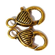 2pc Gold Plated Large Lobster Clasp Heart Lines 25x14mm