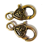 2pc Gold Plated Large Lobster Clasp Heart Etched 25x15mm