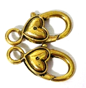 2pc Gold Plated Large Lobster Clasp Smooth Heart 28x15mm