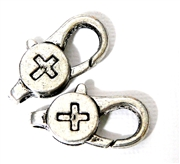 2pc Silver Plated Large Lobster Clasp Cross 28x12mm