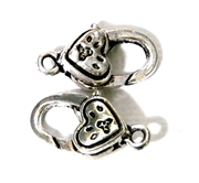 2pc Silver Plated Large Lobster Clasp Heart Dotted 22x12mm