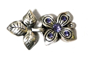 1pc Silver Plated Rhinestone Flower Hook and Eye Clasp Purple 40x25mm
