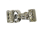 1pc Silver plated 2 Strand Small Magnetic Foldover Clasp 22x10mm