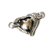 1pc Silver plated Magnetic Clasp Heart Small 18x12mm