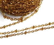 1M Antique Gold Bead Link Chain 2mm