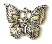 1pc rhinestone solid butterfly pendant silver plated 50mm