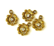 4pc rhinestone gold plated 10mm solid flower charms