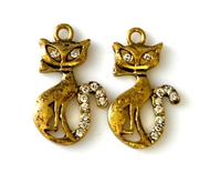 2pc rhinestone charms 24mm gold plated cats