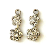 2pc rhinestone charm double flower silver plated 15x8mm