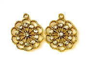 1pc rhinestone charm 24mm flower gold plated