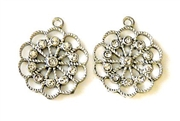 1pc rhinestone charm 24mm flower silver plated