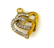 1pc rhinestone charm two hearts gold plated 20mm