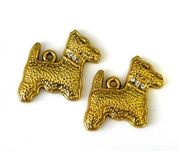 2pc rhinestone charm scotty dog gold plated