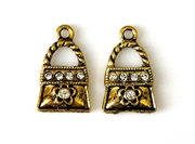 2pc rhinestone charm purse gold plated 18mm