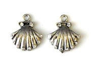 2pc rhinestone charm shell silver plated 17mm
