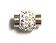 1pc Rhinestone Magnetic Clasp Silver /  Clear AB
