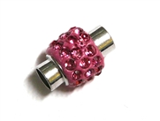 1pc Rhinestone Magnetic Clasp Silver / Rose Pink