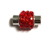 1pc Rhinestone Magnetic Clasp Silver / Siam Red