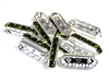 6pc rhinestone 3 strand spacers silver plated olivine green