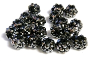 4pc 8mm acrylic rhinestone rounds steel grey