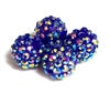 2pc 10mm acrylic rhinestone rounds cobalt